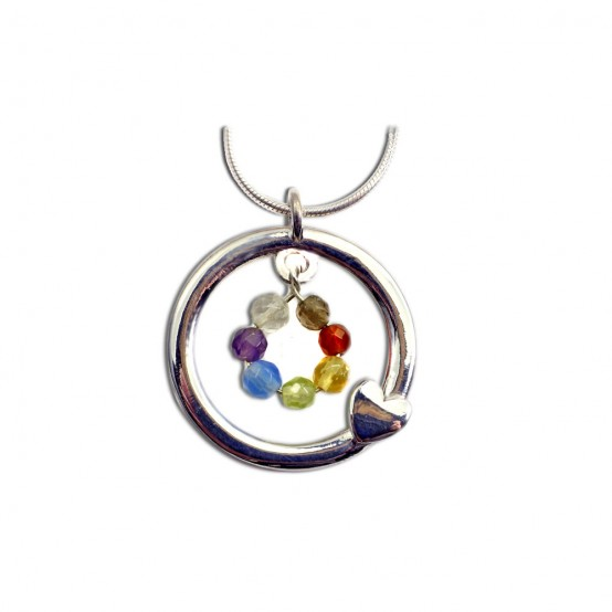 Chakra Pendant Heart and Circle Sterling Silver