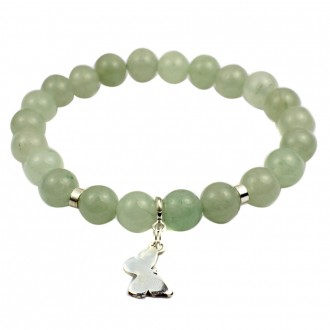 Aventurine Bracelet with Butterfly in Sterling Silver