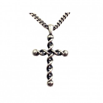 Cross Sterling Silver Antique DNA