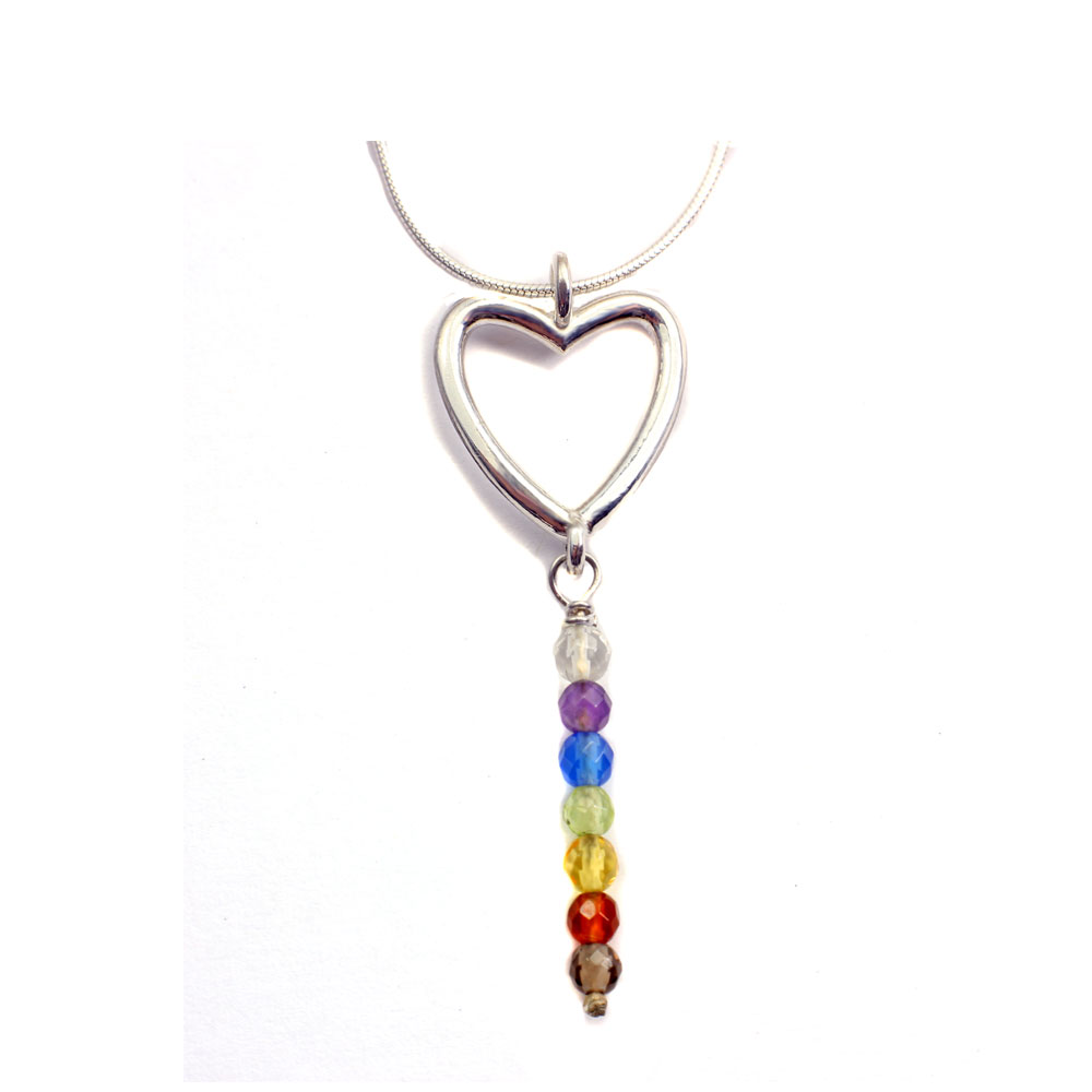Chakra necklace with heart imaginarius chakra necklace chakra pendant heart mozeypictures