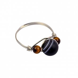 Sardonyx Wire Wrapped Ring Sterling Silver