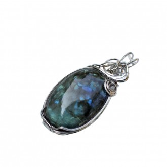 Labradorite Pendant Wire Wrapped Sterling Silver