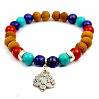 Lotus Flower Bracelet with Lapis