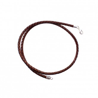 Leather Cord Sterling Silver Finish
