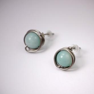 Amazonite Titanium Earrings