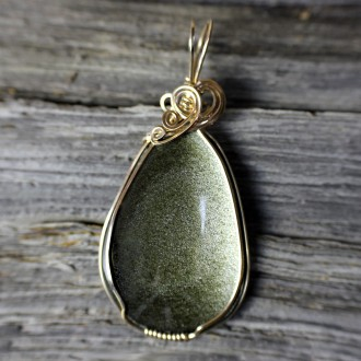 Golden Sheen Obsidian Pendant Wire Wrapped