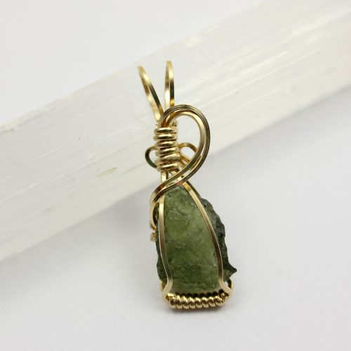 Moldavite Pendant in Gold