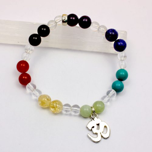Chakra bracelet with Om Sterling Silver