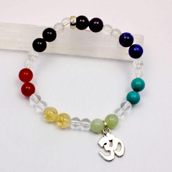 Chakra bracelet with Om Sterling Silver