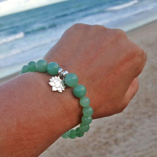 Lotus Healing Bracelet with Green Aventurine